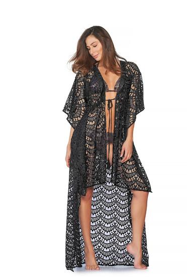 Cosita Linda black beach wear flared dress asymmetrical knitted fabric