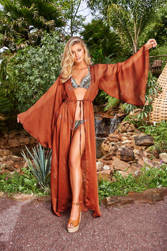 Cosita Linda bricky flared beach wear dress slightly transparent fabric is fastened around the waist with a ribbon
