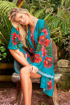 Cosita Linda turquoise dress luxurious flared