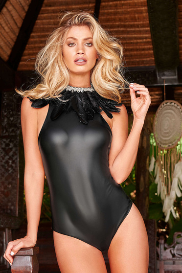 Cosita Linda black luxurious altogether swimsuit from shiny fabric bare back with laced details