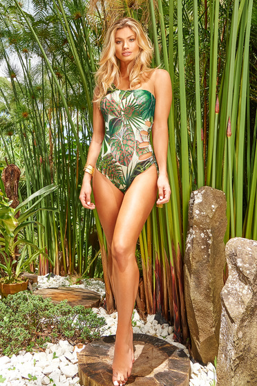 Cosita Linda green luxurious altogether asymmetrical swimsuit with floral prints