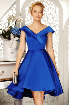 Fofy blue occasional asymmetrical cloche dress off shoulder from satin fabric texture