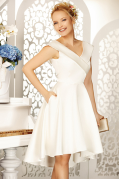Fofy white occasional asymmetrical cloche dress off shoulder from satin fabric texture