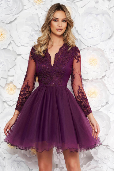 Artista purple occasional cloche dress with push-up cups from laced fabric with sequin embellished details