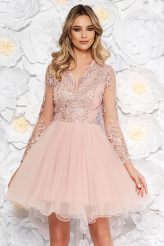 Artista rosa occasional cloche dress with push-up cups from laced fabric with sequin embellished details