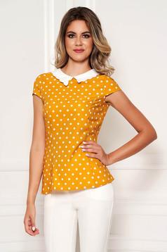 Fofy mustard elegant tented women`s blouse short sleeve thin fabric dots print