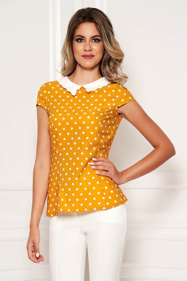 Fofy mustard elegant tented women`s blouse short sleeve thin fabric dots print