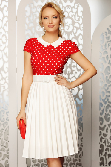 Fofy red elegant tented women`s blouse short sleeve thin fabric dots print