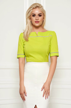Fofy lightgreen elegant women`s shirt with tented cut cotton bow accessory