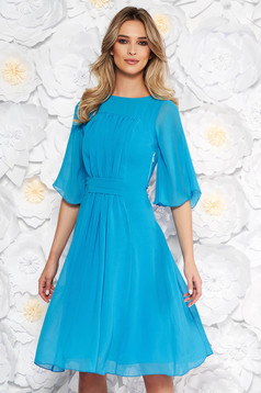 Blue elegant cloche dress from veil with inside lining with 3/4 sleeves