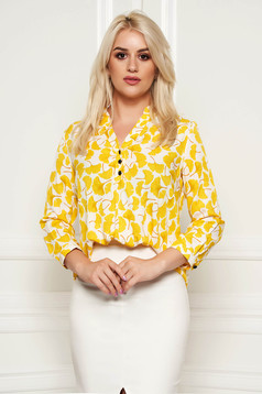 Fofy yellow asymmetrical flared women`s blouse thin fabric with floral prints