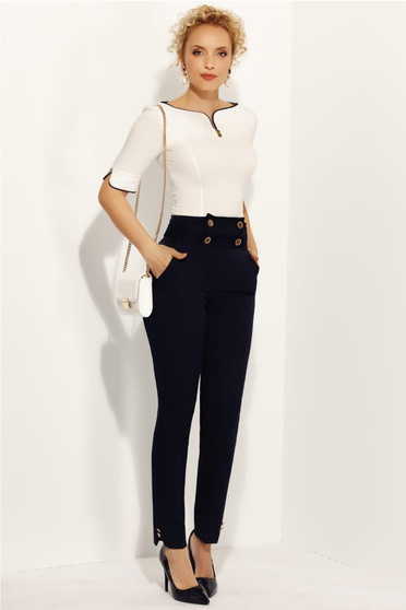 Fofy darkblue elegant conical trousers high waisted with button accessories slightly elastic fabric