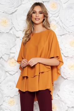 Bricky elegant flared asymmetrical women`s blouse voile fabric
