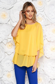 Yellow elegant flared asymmetrical women`s blouse voile fabric