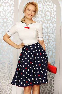 Fofy red elegant women`s shirt with tented cut slightly elastic cotton bow accessory