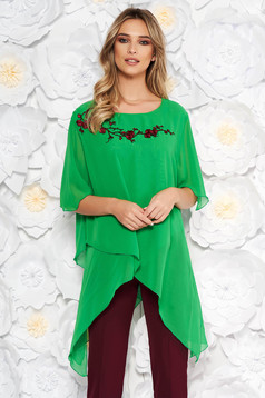 Green elegant flared asymmetrical women`s blouse from veil fabric front and embroidery