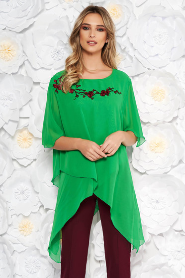 Green elegant flared women`s blouse asymmetrical from veil fabric front embroidery