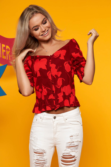 Top Secret red casual women`s blouse with a cleavage airy fabric with floral print