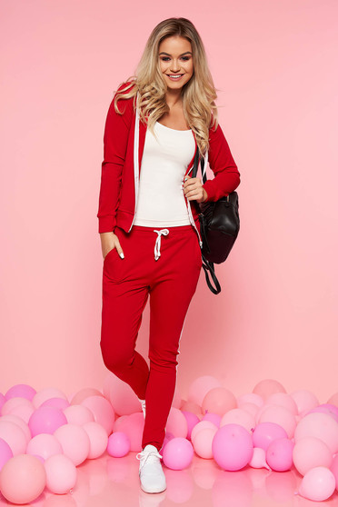 SunShine red casual from 2 pieces set with trousers slightly elastic cotton