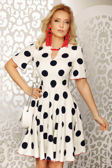 Fofy white elegant daily cloche dress thin fabric with dots print accessorized with breastpin