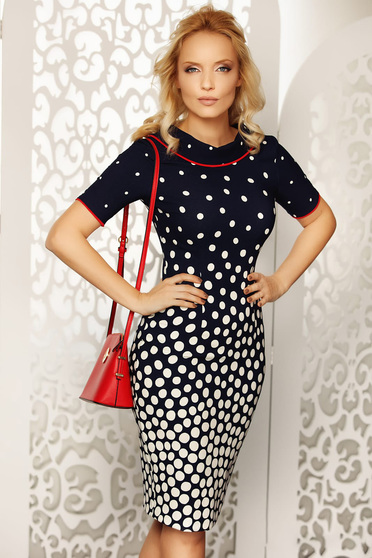 Blue dress daily midi pencil slightly elastic fabric dots print