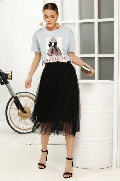 Black midi cloche skirt with medium waist from tulle