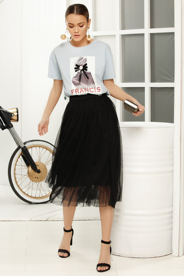 Black midi cloche skirt with medium waist from tulle