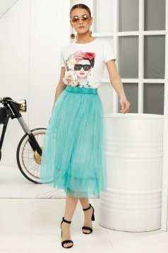 Turquoise midi cloche skirt with medium waist from tulle