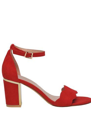 Top Secret red elegant sandals chunky heel