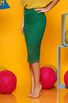 Top Secret green midi laced skirt with medium waist with tented cut