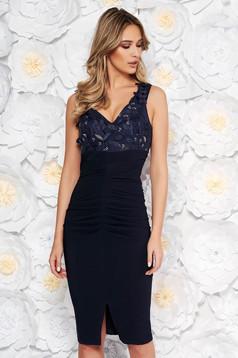Artista darkblue occasional midi pencil dress off shoulder slightly elastic fabric with sequin embellished details