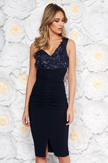 Artista darkblue occasional midi pencil dress off shoulder slightly elastic fabric with sequin embellished details