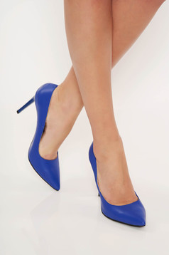 Blue office shoes natural leather stiletto slightly pointed toe tip