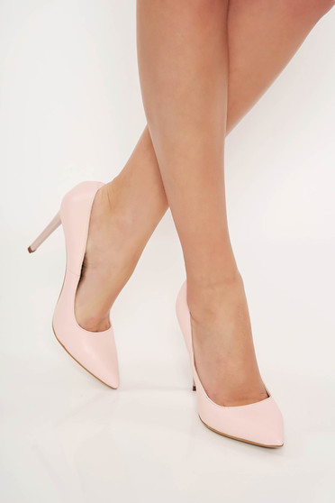 Lightpink office shoes natural leather stiletto slightly pointed toe tip