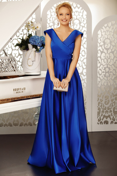 Fofy blue occasional cloche dress with v-neckline off shoulder from satin