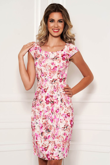 Midi elegant cotton pencil pink dress with floral prints and short sleeve