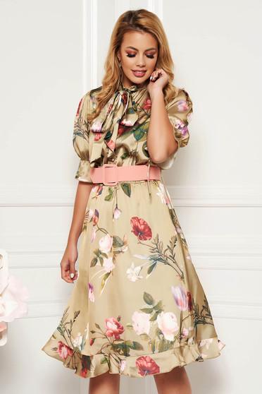 PrettyGirl lightgreen elegant daily cloche dress elastic waist accessorized with belt