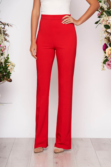PrettyGirl red elegant flared trousers high waisted nonelastic fabric