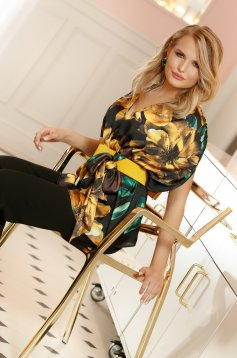 PrettyGirl black elegant flared women`s blouse from satin fabric texture with floral prints accessorized with tied waistband