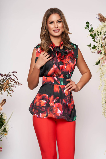 PrettyGirl red elegant flared women`s blouse from satin fabric texture with floral prints accessorized with tied waistband