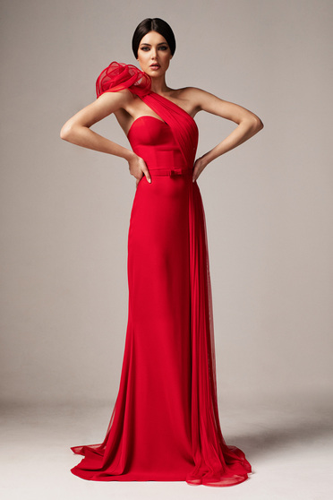 Ana Radu red occasional long mermaid dress with push-up cups with tented cut