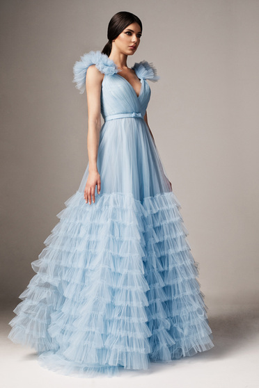 Ana Radu lightblue occasional from tulle cloche dress with v-neckline with push-up cups accessorized with tied waistband
