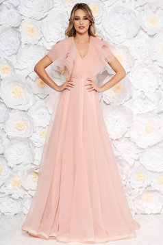 Ana Radu rosa occasional cloche dress with v-neckline frilly trim around cleavage line