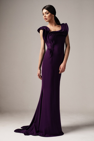 Ana Radu purple occasional long mermaid dress with tented cut frilly trim around cleavage line