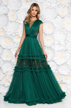 Ana Radu darkgreen occasional cloche dress with v-neckline with lace details accessorized with tied waistband