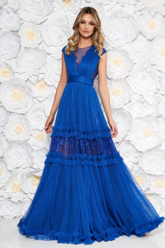 Ana Radu blue occasional cloche dress with v-neckline with lace details accessorized with tied waistband