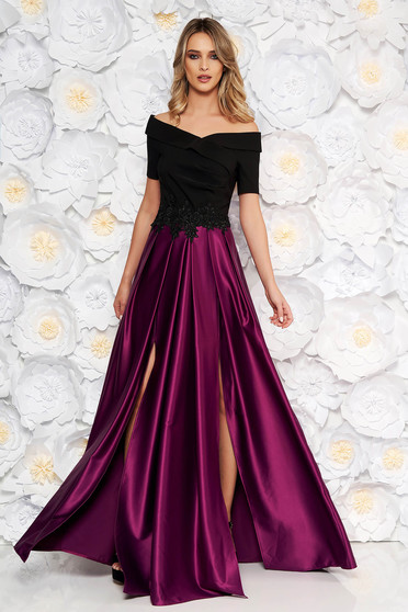 Occasional Artista purple dress from satin fabric texture with embroidery details on the shoulders cloche
