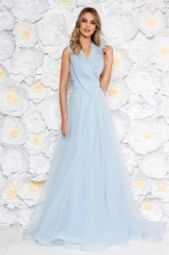 Ana Radu lightblue occasional long cloche dress with v-neckline sleeveless
