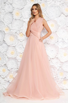 Ana Radu rosa occasional long cloche dress with v-neckline sleeveless