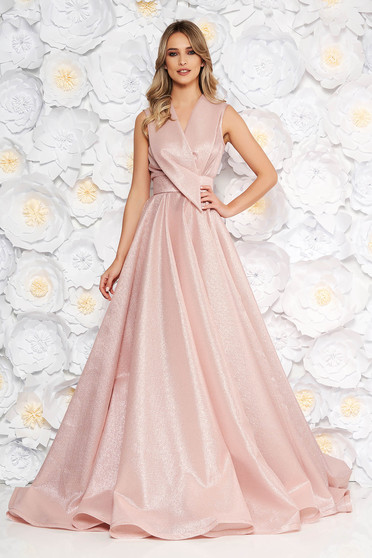 Ana Radu rosa occasional long cloche dress with v-neckline